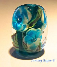 Beautiful Handmade Lampwork Glass Bead Encased Floral  Blue by TammyGagne, $25.00