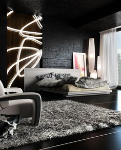 Rendered Black Bedroom for a contrasting and modern style with an edgy yet elegant appeal - Model Home Interior Design Home Bedroom, Modern Bedroom, Bedroom Decor, Edgy Bedroom, Bedroom Black, Bedroom Lighting, Bedroom Sets, Dream Bedroom, Master Bedroom
