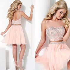 Two Pieces Short Homecoming Dresses 2016 Beaded Chiffon Sexy Backless Elegant pink Crew Collar Cheap Short Prom Party Dress Gown Short Gold Prom Dresses, Pink Bodycon Dresses, Red Homecoming Dresses, Hoco Dresses, Prom Party Dresses, Cheap Dresses, Short Prom, Dresses 2016, Backless Dresses