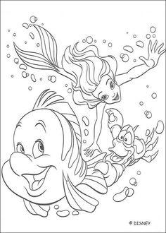 Die kleine Meerjungfrau zum Ausmalen - Arielle, Fabian und Sebastian #Ausmalbild #Malvorlage #gratis