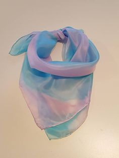 Very light and soft silk scarf in purple & turquoise. This scarf has been hand painted. Silk Scarves, Fashion Accessories, My Etsy Shop, Hand Painted, Turquoise, Trending Outfits, Unique Jewelry, Purple, Handmade Gifts