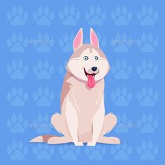 Dog Husky Happy Cartoon Sitting Over Footprints Background Cute Pet Flat Vector Illustration