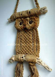 Brown macrame owl wall hanging
