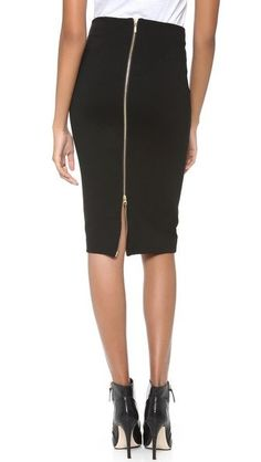 5th & Mercer Pencil Skirt @ ShopBop W/the new twist of the exposed two way brass zipper. Made of Ponte Knit Jersey