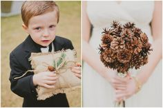Southern California Pine Cone Wedding - Inspired By This Like the card holders and the little boxes at the table...Garlands of pine cones outside...