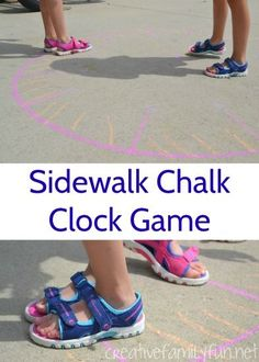 This outdoor clock game is a fun way to get outside, get moving, and practice telling time with a giant sidewalk chalk clock. This outdoor clock game is a fun way to get outside, get moving, and practice telling time with a giant sidewalk chalk clock. Telling Time Activities, Teaching Time, Outdoor Activities For Kids, Outdoor Learning, Kids Learning Activities, Fun Learning, Teaching Ideas, Library Activities, Motor Activities