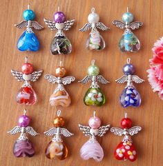 Charms Jewelry Guardian Angel Charms Pendants Lampwork Heart Beads Wings Colors May Vary - Wire Crafts, Bead Crafts, Jewelry Crafts, Handmade Angels, Handmade Beads, Beaded Angels, Beaded Christmas Ornaments, Christmas Angels, Christmas Stocking