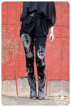 Midnight Hot Air Balloon Leggings - BLACK Womens Legging - Tights - OZ - MEDIUM on Etsy, $32.00