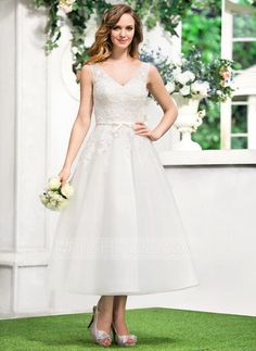 A-Line/Princess V-neck Tea-Length Satin Tulle Wedding Dress With Lace Bow(s) (002052767) - JJsHouse