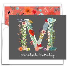 Black Floral Letter Foldover Note Cards