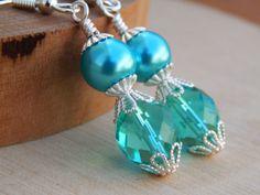 Teal Blue Bridesmaid Earrings peacock drop by SheJustSaidYes, $15.00