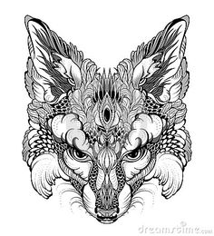 FOX head tattoo. psychedelic / zentangle style