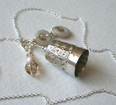Antique Silver Thimble Charm Necklace Champagne by Mrs Gibson.
