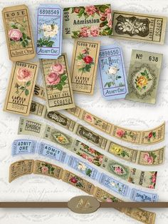 """digital Rose Tickets – vintage style printable tickets for your scrapbooking, junk journal, card making and art projects 5 different strips    25 tickets    Ephemera background YOU RECEIVE: - 1 high resolution (300 dpi) JPG file; - ticket strip images are placed on Letter size sheet 8.5""""x11"""" Journal Pages, Junk Journal, Bullet Journal, Printable Tickets, Vintage Roses, Vintage Clip, Vintage Style, Benjamin Bunny, Vintage Butterfly"""