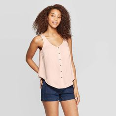 Women's Scoop Neck Button Front Knit Woven Tank Top - Universal Thread Pink M