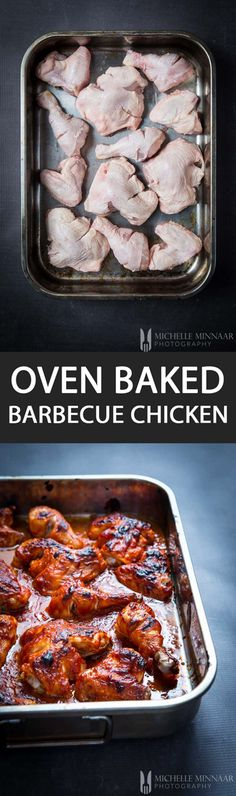 Oven Baked Barbecue Chicken - {NEW RECIPE} You don't need a BBQ to make barbecue chicken at home. Just mix all the ingredients in a bowl and then pour it over chicken pieces in a baking tray. Voila!