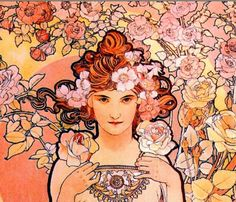 ⊰ Posing with Posies ⊱ paintings of women and flowers - Alphonse Mucha | Rose, detail