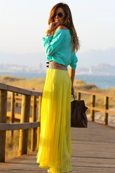❤TOBACCO D&B BAG - Yellow Skirt, Mint Green Sheer Long Sleeve Blouse, Tobacco Belt, Mint Green, Gold & Cream Long Chain, Pearl Earrings, Gold Watch, Pearl Bracelets, Gold & Pearl Ring, Tobacco Heel Shoes.