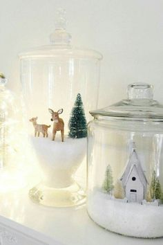 Use epsom salt or fake snow to create a scene in a glass jar.