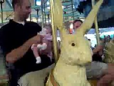"""Relative motion on carousel. The riders go up and down while moving clockwise - as viewed from the sidelines. Although this video shows the riders moving up and down, some shots that include the background make it looks as though it's the background moving counterclockwise, not the carousel moving clockwise. Mona Evans, """"Teaching Why We Have Night & Day"""", http://www.bellaonline.com/articles/art23905.asp"""