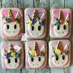 Unicorn cookies #birthdaycookies #unicornandflowers Unicorn Cookies, Birthday Cookies, Panna Cotta, Sweet Treats, Sugar, Cakes, Ethnic Recipes, Desserts, Food