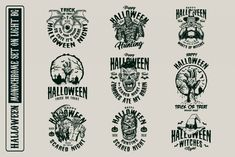 Monochrome Halloween vector designs with editable texts. Available to download on www.dgimstudio.com. #tshirtdesign #appareldesign #vector #vectorillustration #spooky