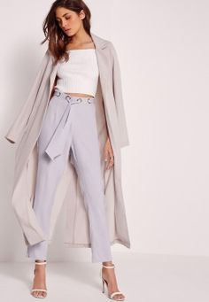 Multi Eyelet Tie Waist Trousers Lilac