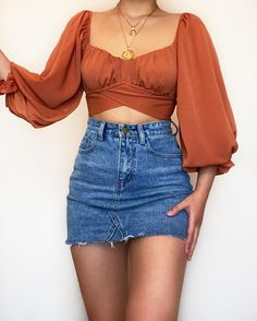 Teen Fashion Outfits, Girly Outfits, Cute Casual Outfits, Look Fashion, Chic Outfits, Pretty Outfits, Vintage Outfits, Crop Top Outfits, Skirt Outfits