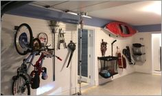 An organization slatwall system can provide a sturdy and flexible system for even big items like kayaks
