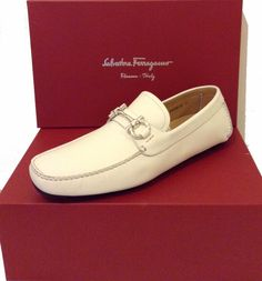 Ferragamo Men's White Loafers Leather Italy Shoes Sz Ferragamo 11 EE US 12 $560 #Ferragamo #LoafersSlipOns