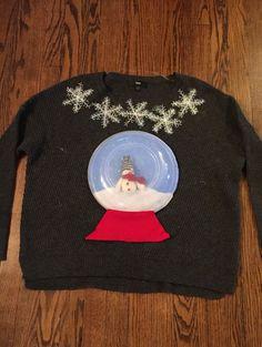 Ugly Christmas sweater. Snowglobe. Felt, plastic bowl lid, dollar store snowflakes. Target $12 clearance sweater. Ugly Sweater Day, Ugly Sweater Contest, Diy Ugly Christmas Sweater, Ugly Sweater For Kids, Xmas Sweaters, Christmas Clothes, Xmas Shirts, Kids Christmas, Pulls