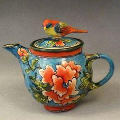 Orange and teal teapot ~ Deb Kuzyk & Ray Mackie, Lucky Rabbit Pottery Tea Cup Saucer, Tea Cups, Lucky Rabbit, Pottery Teapots, Cuppa Tea, Tea Pot Set, Teapots And Cups, Tea Art, My Cup Of Tea
