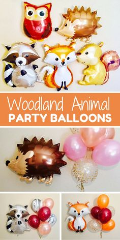 These woodland animal balloons make me want to throw a party just so I have an excuse to buy them! How cute would these be for a baby shower or kids birthday party?! From girlygifts07 #ad #etsyfinds #partydecor #woodland #birthday