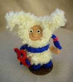 Bunny! ..caught a fox. Bunny toy. Art toy. Knitted toys. Needle felted toy. Bunny doll. Funny doll. Knitted bunny. Felt doll.