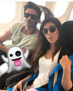 """#Raabta stars Sushant Singh Rajput and Kriti Sanon making the cutest faces in flight. @Bollywood …"""