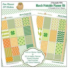March Planner Spread and Free March Printable Planner Stickers. St Patrick's Day Vintage Cards & 2 Bible Journaling Margin Strips! #pomplanner #freeprintable #freebie #plannerlove #biblejournaling