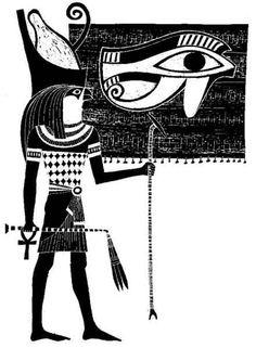 Para os egípcios o faraó era Hórus, o falcão celeste, cujos olhos representavam o Sol e a Lua. Nos relevos há várias cenas nas quais o deus Hórus aparece ao lado do faraó como criaturas iguais, da mesma estirpe.