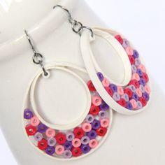 Big Hoop Earrings Niobium Earring Hooks Pink Purple and White Paper Quilled Eco Friendly Fashion Jewelry, Artisan Jewelry. $38.00, via Etsy.