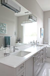 bathroom-with-floating-gray-vanity-cambria-quartz-countertop-kirkstead-benjamin-moore-balboa-mist-large-mirror-kylie-m-interiors-decorating-and-design-online-and-nanaimo