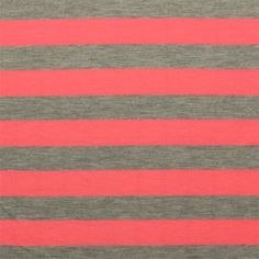 Neon Coral and Heather Gray Stripe Cotton Jersey Rayon Knit Fabric $5.50. Love neon!