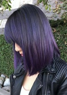 Purple hair color is the perfect option to step out of your box while creating a new look. Violet hair is everywhere these days, no matter if your locks are long and curly or short and straight. That (Beauty Face Are Everywhere) Dark Purple Hair, Violet Hair, Hair Color Purple, Purple Ombre, Hair Color For Black Hair, Deep Purple, Purple Streaks, Ombre Hair, Ombre Bob
