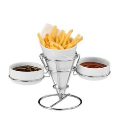 Perfect Diner | French Fry Cone with chrome stand & 2 Dip Dishes