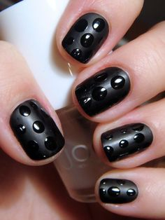 Gorgeous black nails: Paint all your nails with two coats of black polish. when it is completely dry, apply a matté top coat, and let dry thoroughly. when matté has dried, a apply black spots. do NOT apply a top coat, or else it will ruin the shiny-matté look. :D