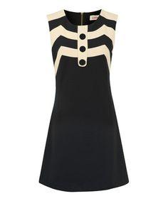 Navy & White Zigzag Mary Shift Dress by Louche #zulily #zulilyfinds