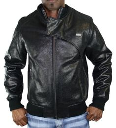 SEAN JOHN Faux Leather Faux Sherpa Lined Mens Bomber Coat Jacket for $265.00