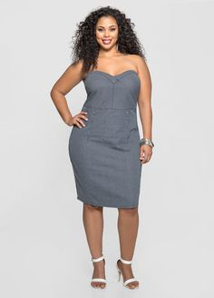 Strapless Pinstripe Denim Bustier Dress