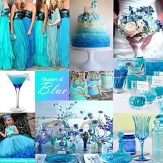 Shades of Blue Wedding Colors - A range of blue hues can create a luscious wedding palette. I like them all hehe