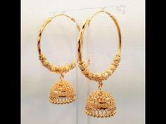 """GoldShine - Treasure For Generations"" Solid Yellow Gold Chandelier Earrings Gold Jhumka Earrings, Gold Chandelier Earrings, Gold Earrings Designs, Gold Jewellery Design, Silver Hoop Earrings, Necklace Designs, Gold Jewelry, Earings Gold, Jumka Earrings"
