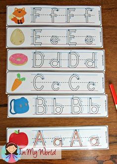 FREE Back to School Literacy Centers for Kindergarten. Alphabet write and wipe handwriting practice pages.