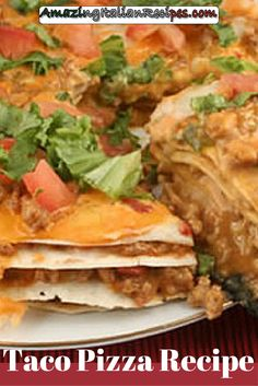 Whilst not strictly a traditional pizza as such, this taco pizza recipe is made with layers of tortillas, Mexican ingredients such as beef, cheese, refried beans and Mexican spices. If you want to know how to make a Mexican pizza, you should use tortillas for the base and stick to Mexican ingredients like in this taco pizza recipe.